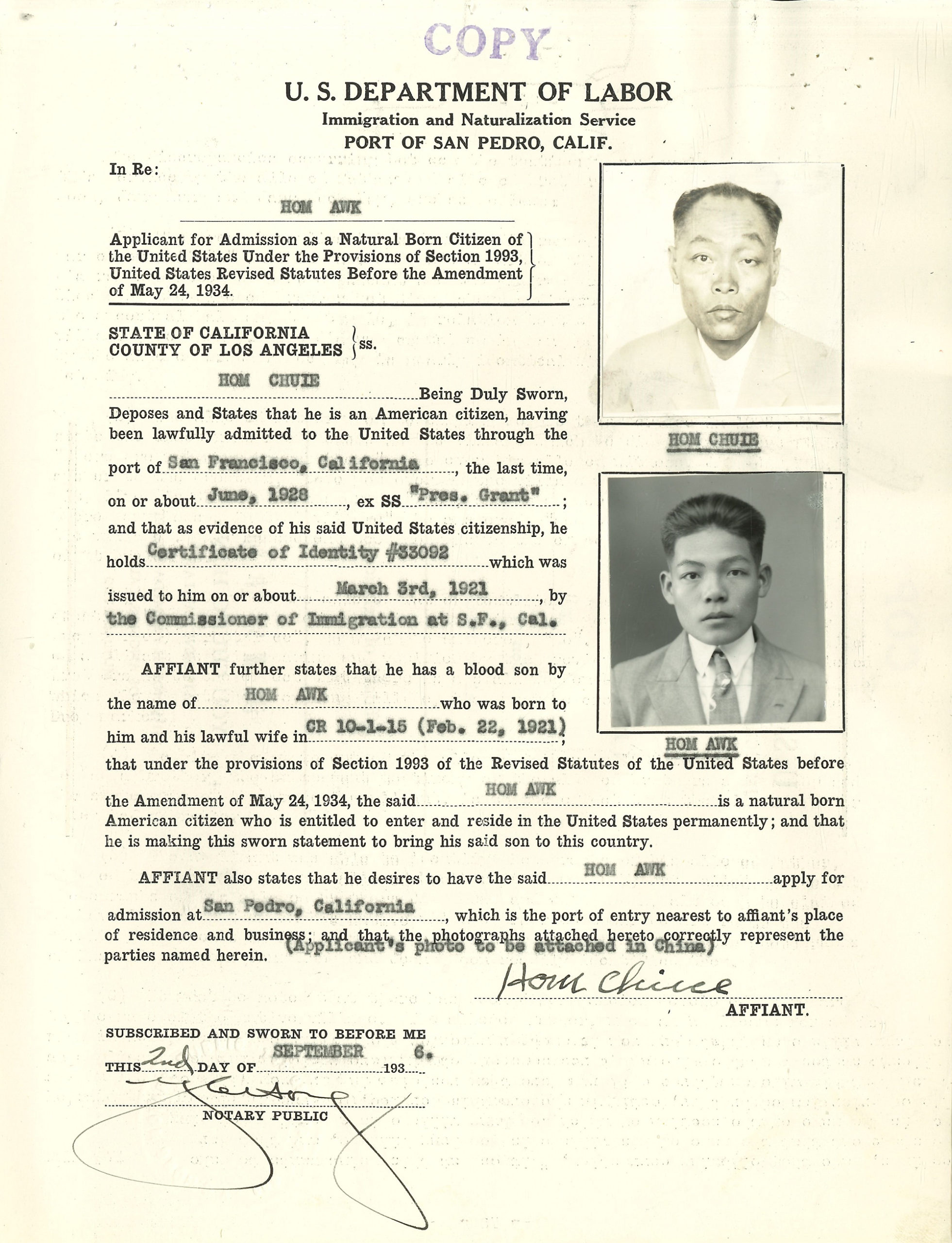 Hom Chuie and Hom Awk's immigration affidavit prepared by attorney Y. C. Hong (1936)