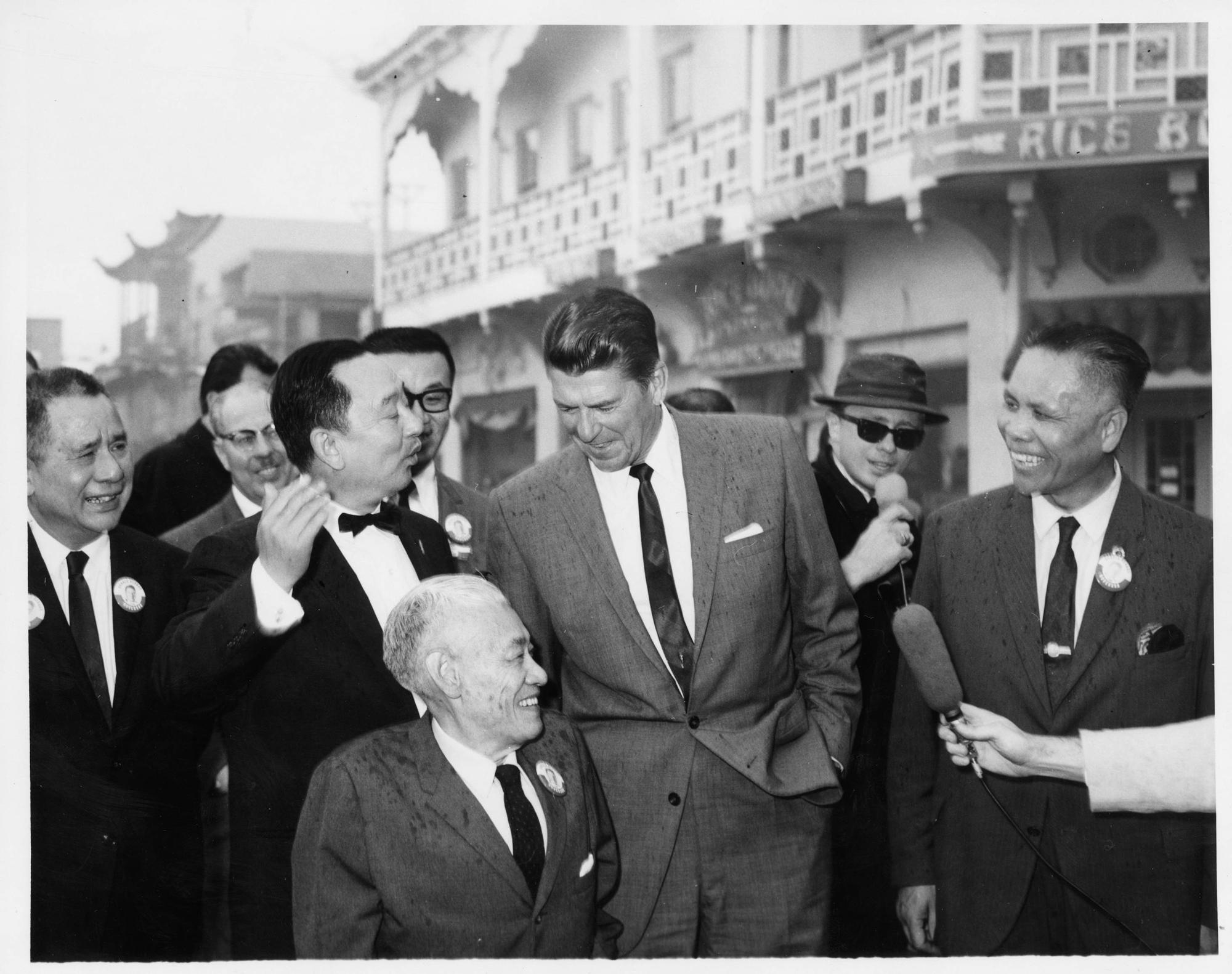 California Governor Ronald Reagan visiting New Chinatown (1960s)
