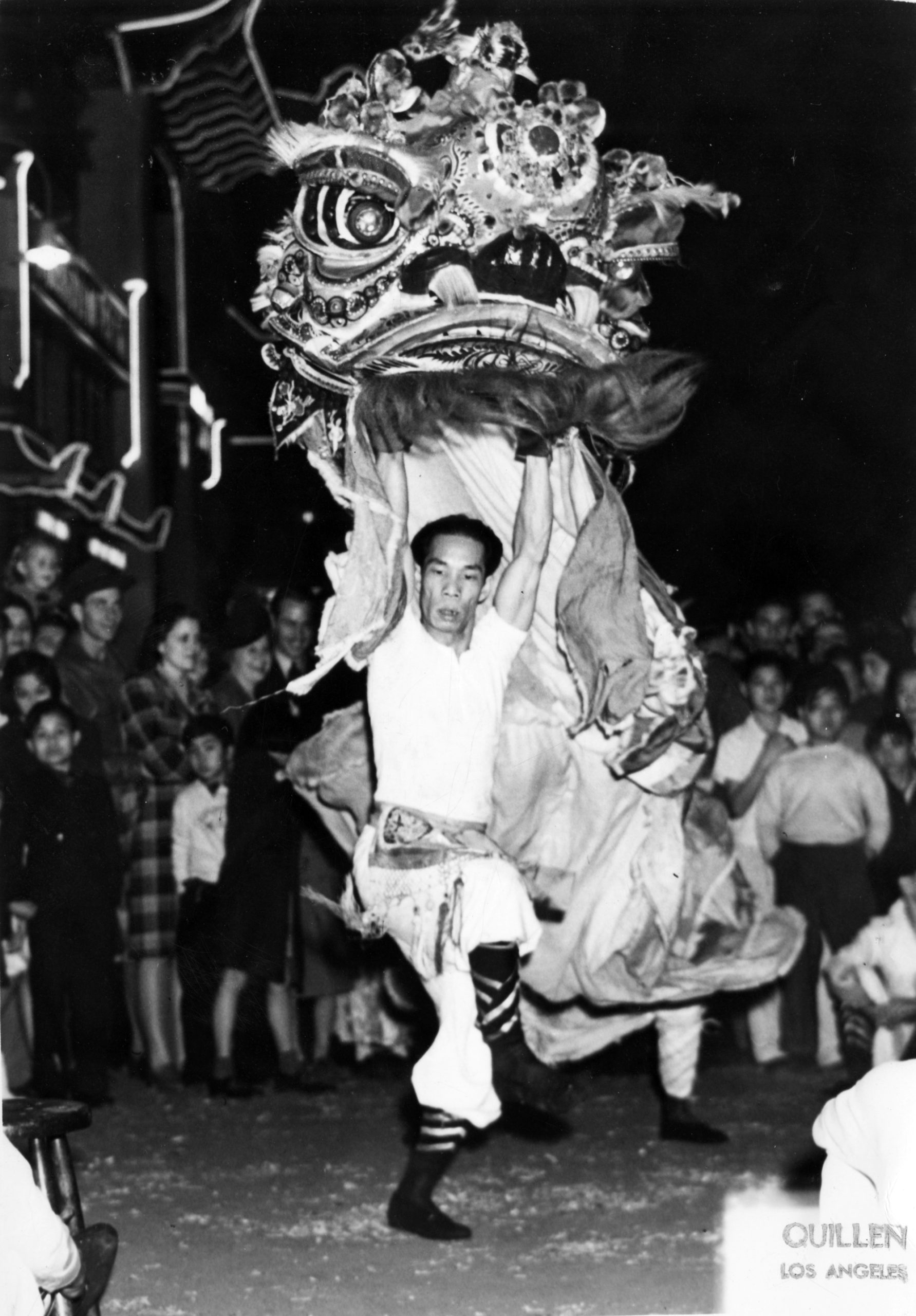 Lion dance for Chinese New Year in New Chinatown Central Plaza (1940s)