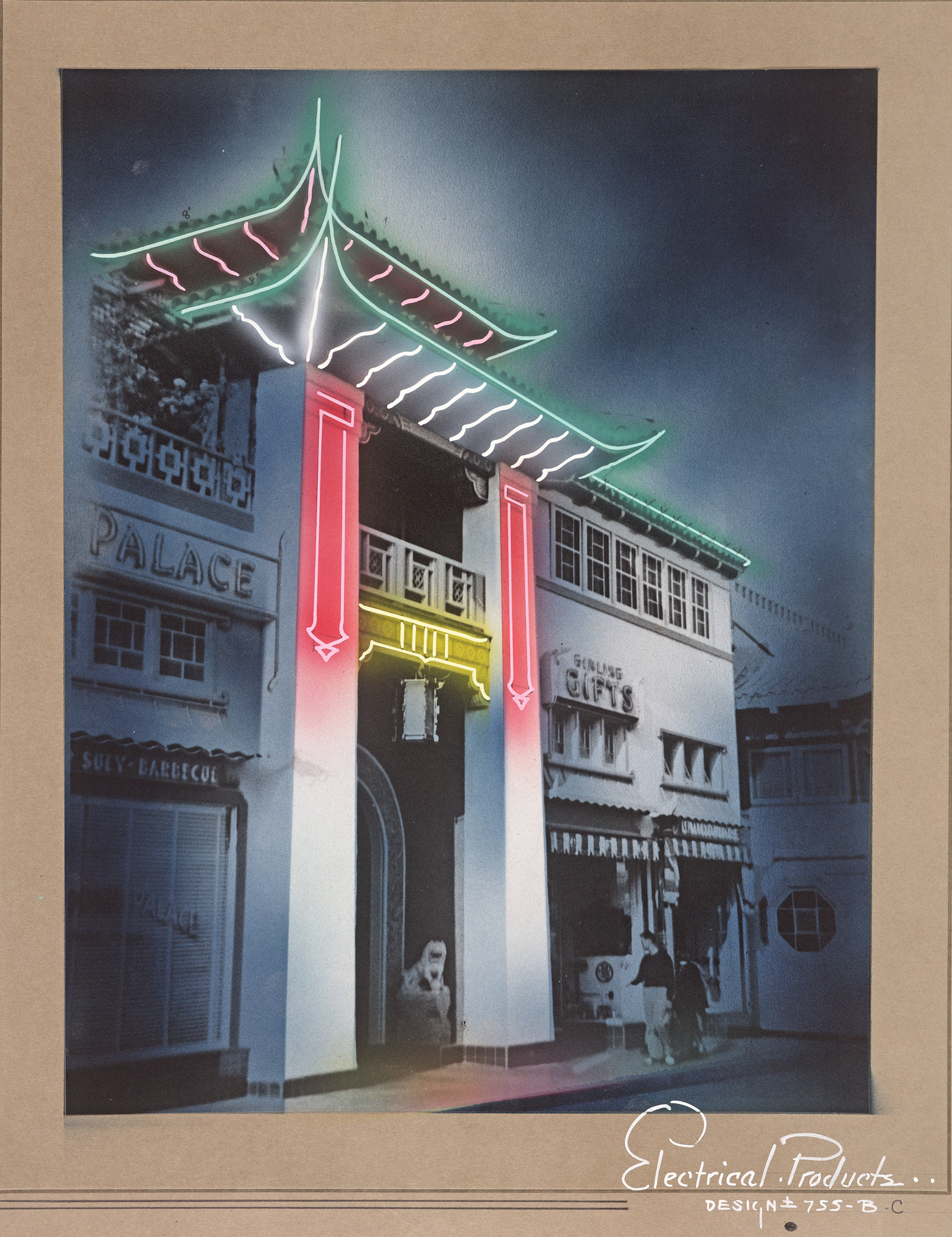 Neon lighting concept for New Chinatown by Electrical Products Corp. (c. 1936)