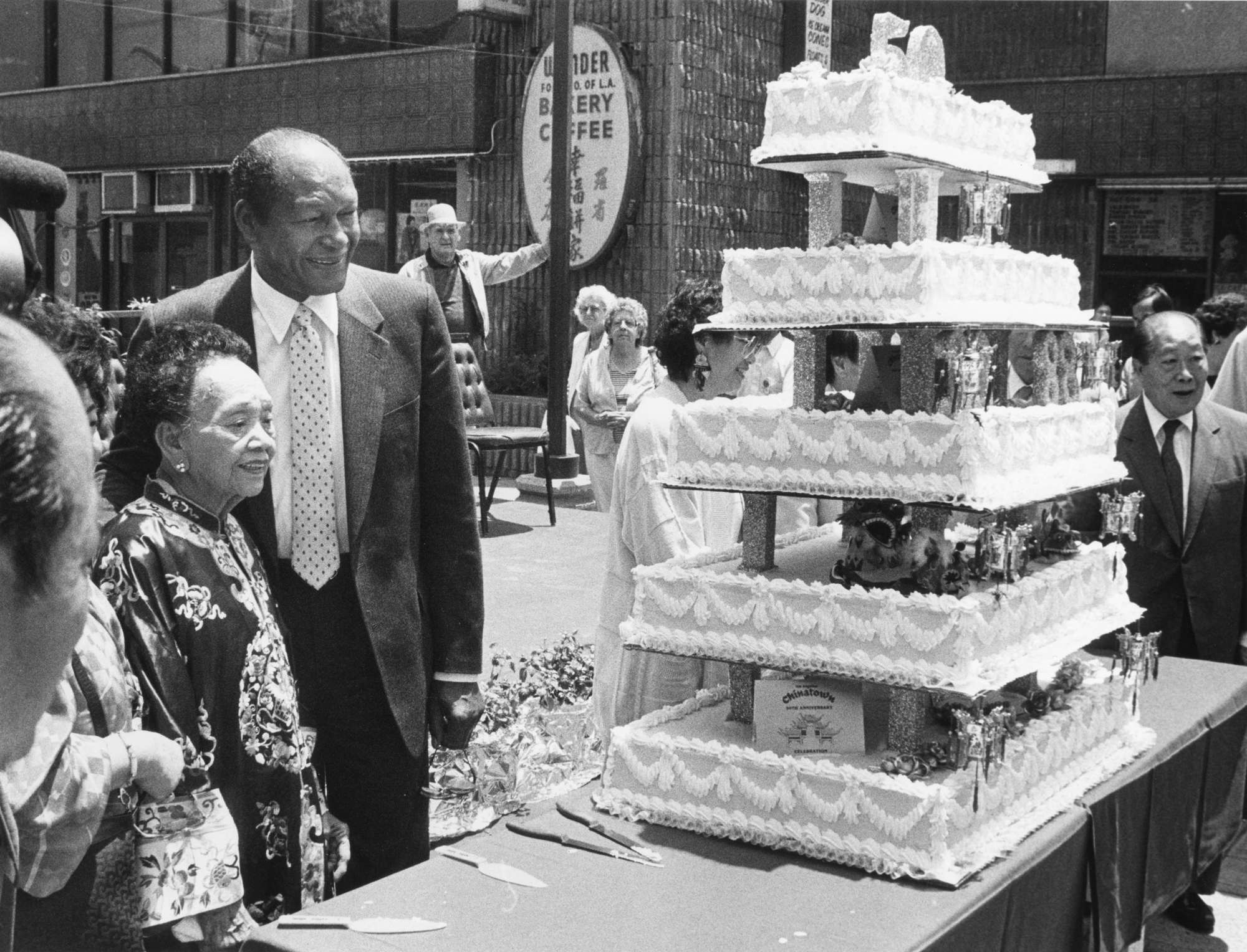 Mayor Tom Bradley and community leader and restaurateur Mama Quon celebrate the 50th Anniversary of New Chinatown (1988)